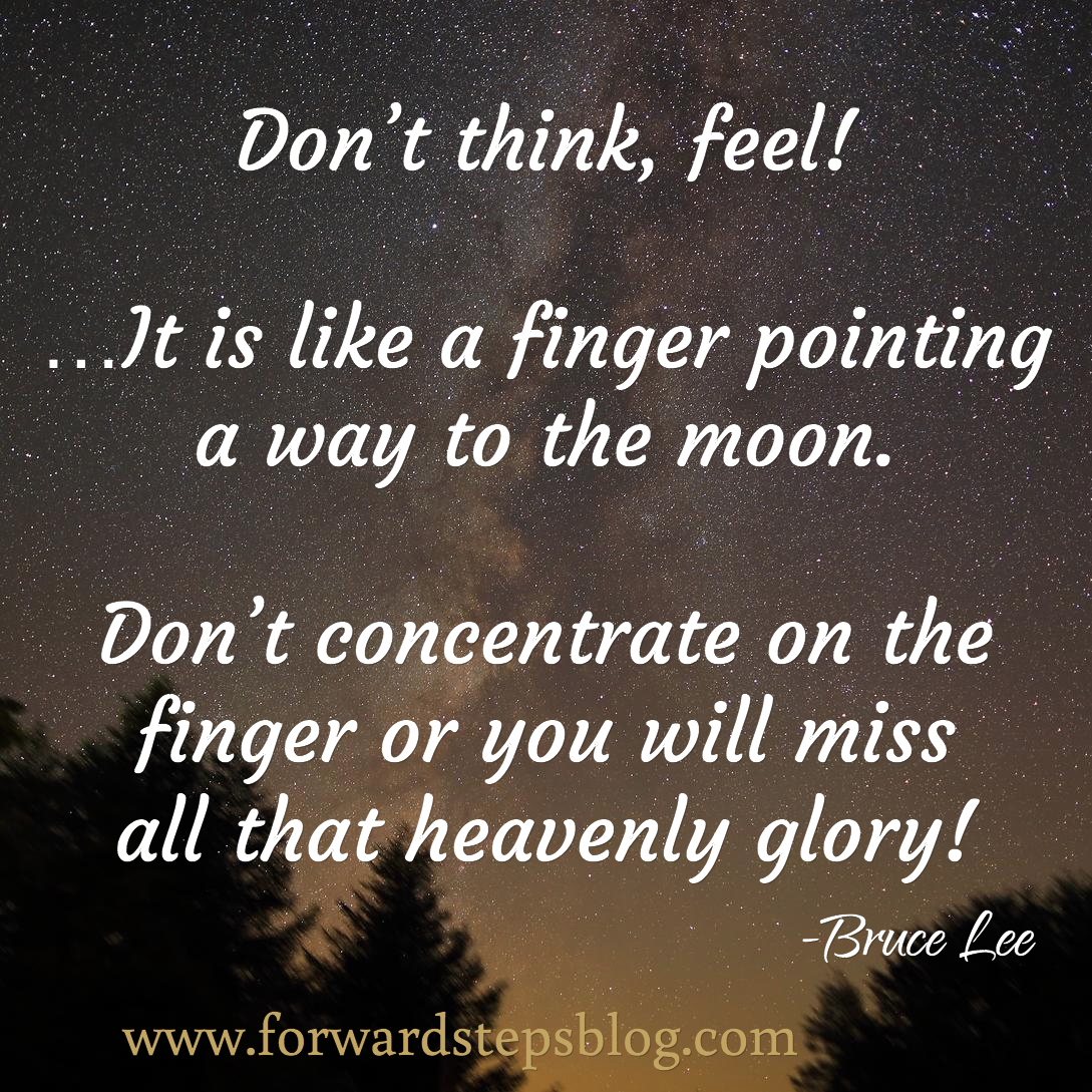 Don't think, feel! - Pointing To The Moon quote image
